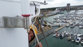 Skipper Diane checking to make sure I am still up there with her. A teaching moment for her.