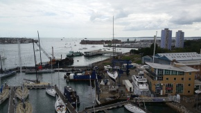 View of all the boats from top of mast rig check