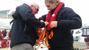 Helping each other get lifejackets ready. Amazing we do not even move boat at doc Amazing, we do not even move the boats from one dock to next without our lifejackets.