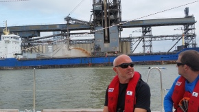 Justin, our engineer checking out the local industrial scenery.
