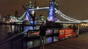 Here we are at sundial right by docks 1st night. Tower Bridge in background and Jen up front.