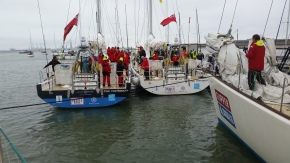 At South End Pier with Sir Robin Knox wishing each boat skipper well as he sends the boats to the start line.