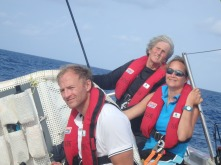 Me at the helm with Deb as communicator. One of the few times I have been able to just sail the sails and not go totally by compass.