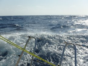 check out the backwash we are generating from our speed! This was fun!