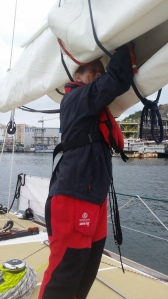 Me trying to get reef knot undone so I could add anti-chafe on the line.
