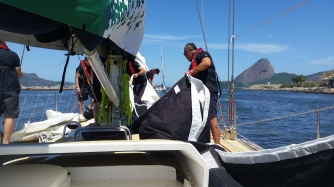 Han and crew getting Yankee 1 ready for start.