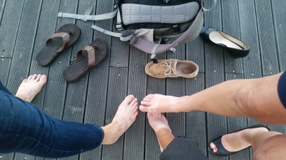 Foot tan contest. Guess which is mine!