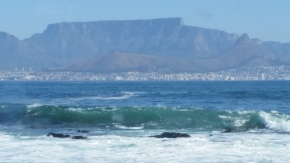 A view of Cape Town and Table Mountain from the Penguin's beach!