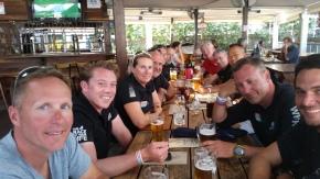 Crew celebrating almost ready tio go!