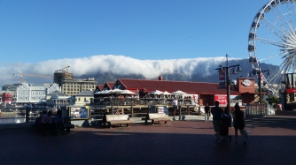 View from marina. Clouds really rolling over Table Mountain
