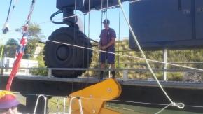 Big equipment to hoist the boat.
