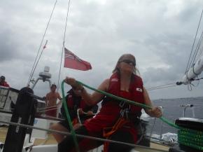 Judith releasing Yankee halyard.