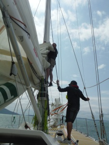 Bringing down the main as we get ready to go into DaNang