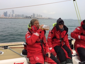 Han brought a bottle of Peach Champagne (NON Alcoholic since alcohol not allowed on boat) to celebrate arrival