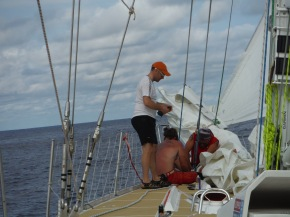 Nick, Matt and Sean working to get that up and running so we can add the Staysail back to our working inventory