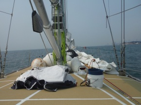 Fenders and mooring lines ready to go.