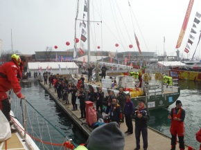 Reception at the dock. I love how other boats and crew are there to cheer us on