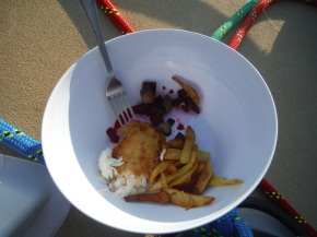 Yep, you guessed it, Sean's fish and chips and beetroot