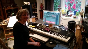 Nancy at her music making station!