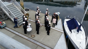 Navy Band ready to play a good march for us to go to boats. (we amble, no marching)