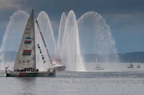 Clipper Telemed passes the fireboat