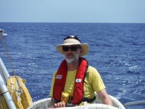 Crewmate Neil on the helm