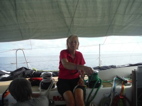 Jill doing some whipping on the spinnaker halyard to help me with my jobs list! Love those helpers!!