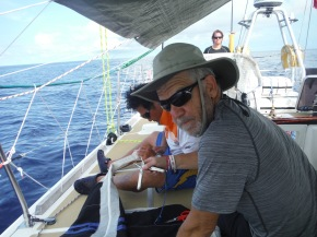 Adrian and Han worked to fix zipper on sail bag. Again a much needed repair.