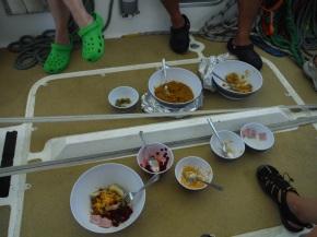 Lunch setup on deck