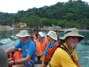 10 of us piled into a little boat and made our way over.